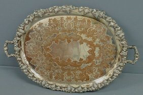 Silverplate Serving Tray, Chippendale Style, With