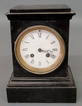 French Black Marble Mantel Clock, The Porcelain Di