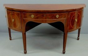 English George III Inlaid Mahogany Sideboard With