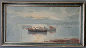 Oil On Canvas Painting Of Fisherman In Boats In A