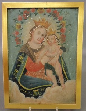 Continental Oil On Metal Painting Of The Madonna A