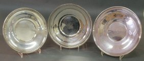 "Three Sterling Silver Plates, Each Approx. 10""dia."