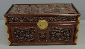 Chinese Carved Rosewood Blanket Chest , C.1950, Wi