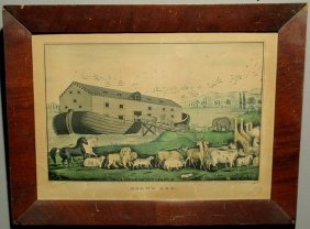 "Rare N. Currier Lithograph ""Noah's Ark"". 9.5""x13.5"
