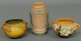 Three Signed Roseville Pottery Vases, Tallest 6.5