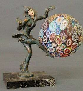 Art Nouveau Style Metal Figural Lamp Of A Dancing