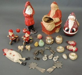 Group Of Christmas Decorations- 20th C. Plaster Be