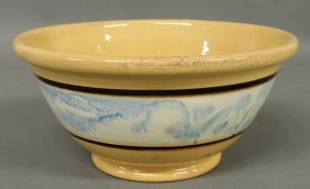 Yellow Ware Bowl With Blue Glaze Decorated Collar.