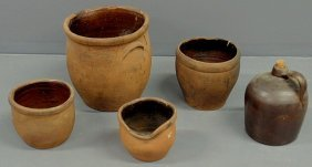 "Four Redware Jars, Largest 12.5""h., And A Jug 11""h"