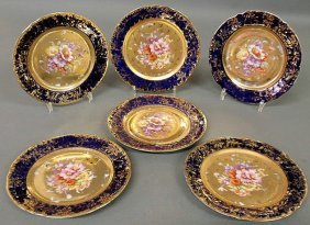 Set Of Six Austrian Plates With Floral And Gilt De