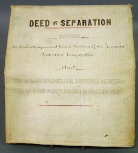 Lutheran 1871 Deed Of Separation Between The Germa