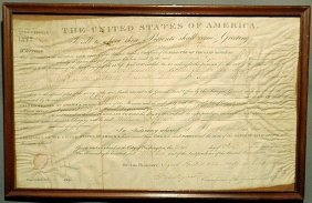 Parchment U.S. General Land Office Certificate Dat