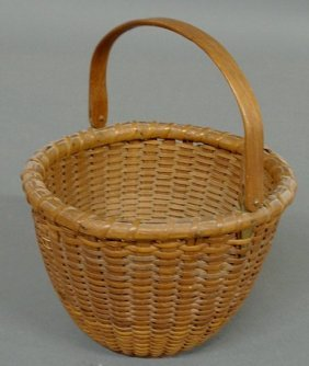 Delicate Woven Nantucket Lightship Basket, 20th C.