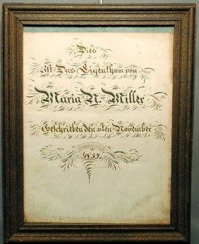 German Birth Certificate For Maria N. Miller, Nove
