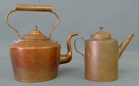 "Continental 19th C. Copper Tea Kettle 13.5""h. And"