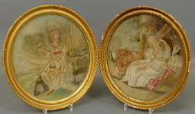 Pair Of English Oval Silkworks, 19th C., Of Seated