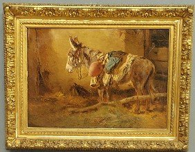 Oil On Canvas Painting, Late 19th C., Of A Donkey