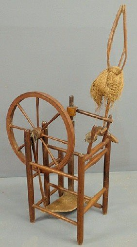 "Maple Upright Spinning Wheel, Early 19th C. 49""h.x"