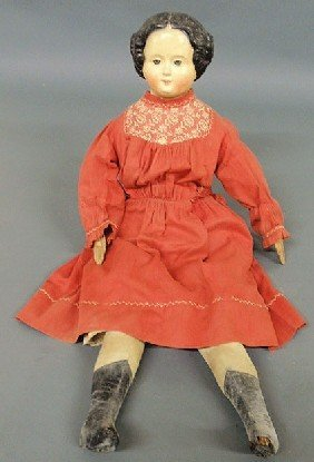 German Composition Face Doll, Late 19th C., With L
