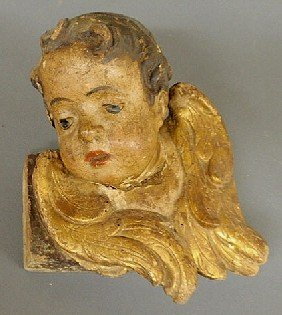 Early Continental Carved Angel's Head With Origina