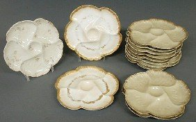 "Set Of Ten Haviland Oyster Plates 8.75""dia. And Th"