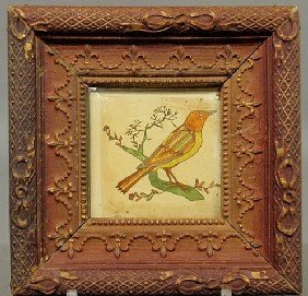 Early Pennsylvania German Watercolor Bird Fraktur.