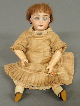 German Bisque Head Doll With Fully Jointed Body By