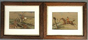 Pair Of Fox Hunting Watercolor Paintings Each Sign