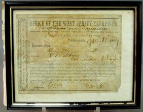 "Framed Certificate ""1869 West Jersey Express Co.""."