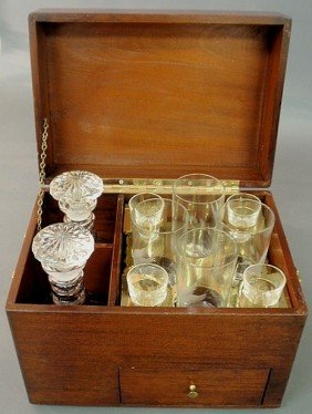 Mahogany Case Decanter Set, 20th C., The Glassware