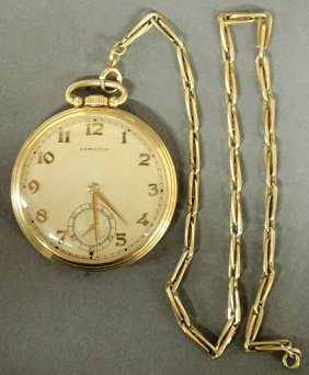 Hamilton 14k Y.g. Open-face Pocket Watch With A G