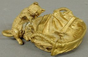 Bronze Figural Group Of A Cat And A Basket Of Cru