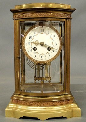 French Brass Mantel Clock With Beveled Glass, A P