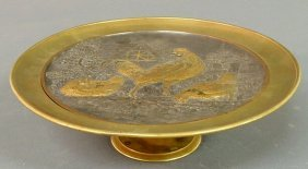 Brass Tazza With Relief Rooster And Chicken Figur