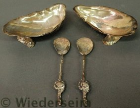 Pair Of Sterling Silver Oyster Shell Form Seafood