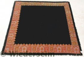 Black Homespun Table Cover With Paisley Border. 6