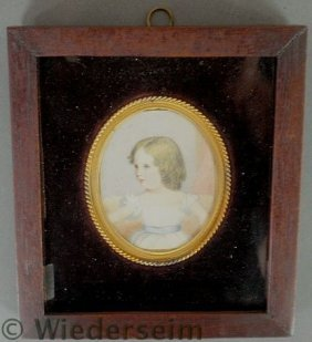 Miniature Watercolor Portrait On Ivory Of A Young