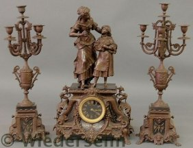 Victorian Spelter Metal Clock And Pair Of Matchin