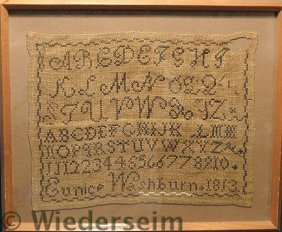 Small Framed Sampler With ABC�s, Wrought By Eunic