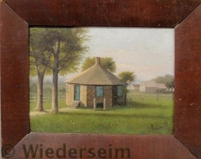 Oil On Panel Painting Of An Octagonal Schoolhouse