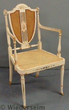 French White Painted Shield-back Open Armchair Wi