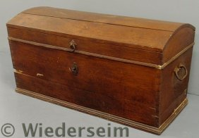 Walnut Dome-lid Blanket Chest, 19th C., With  Wro
