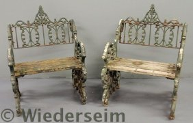 Pair Of Victorian Style Iron Garden Benches. 39�h
