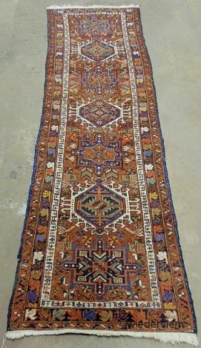 Heriz Oriental Hall Runner With Seven Geometric Meda