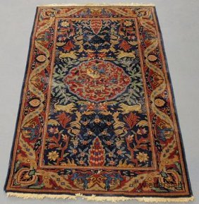 Indo-Tabriz Oriental Mat With A Blue Field With Leaf