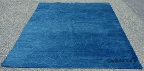 Blue Contemporary Carpet With Incised Geometric Des