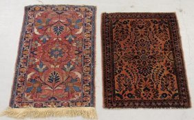 Two Small Sarouk Oriental Throw Mats, Largest 2�9�x1