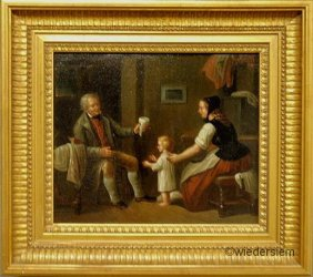 Oil On Canvas Interior Genre Scene, 19th C., With A