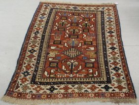 Colorful Caucasian Throw Carpet With Geometric Patt