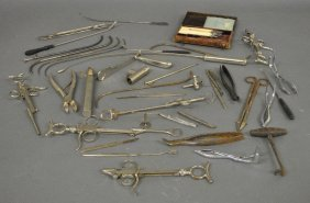 Large Grouping Of Metal Surgical Instruments Including